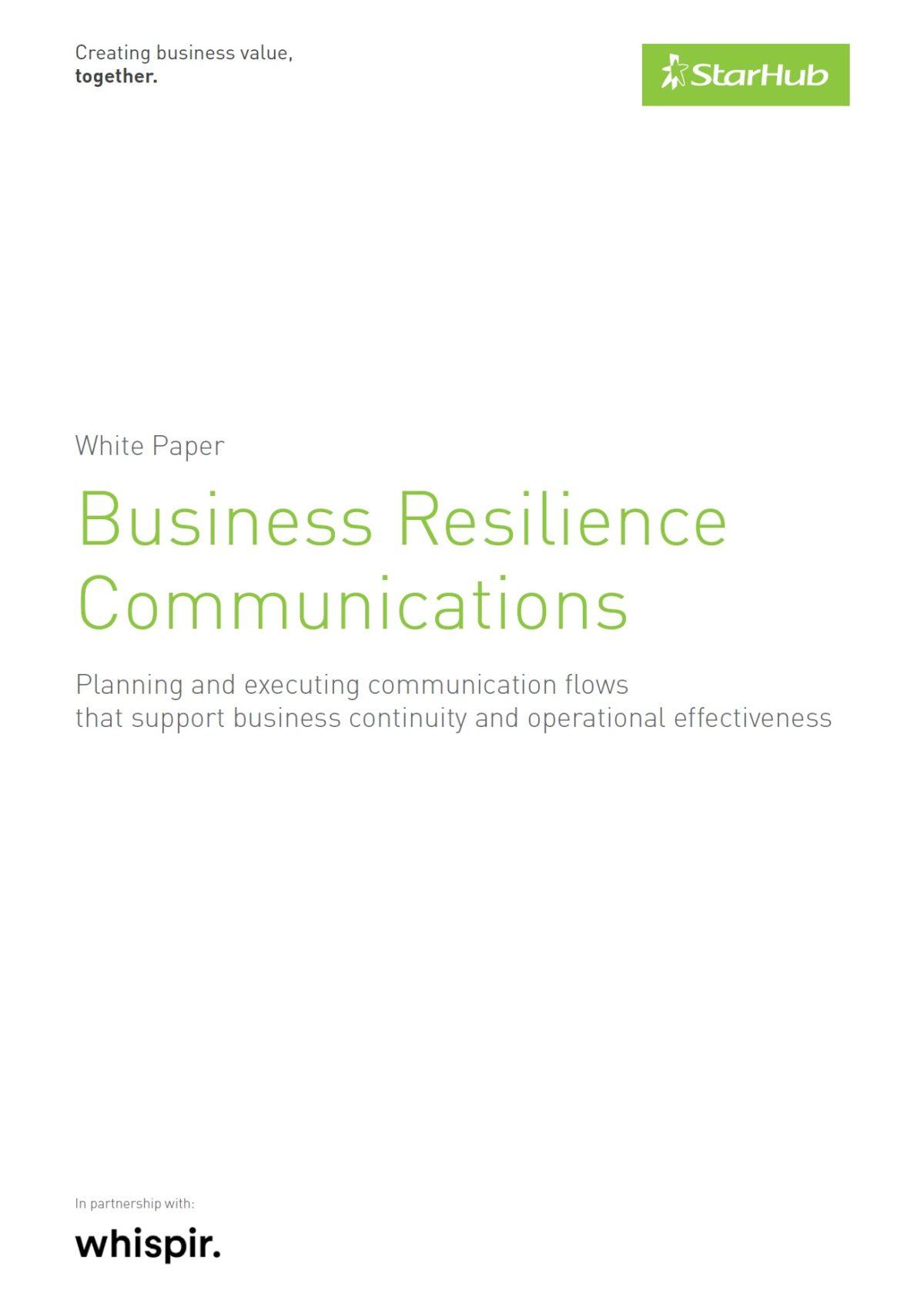 StarHub (SG) Whitepaper - Business Resilience Communications