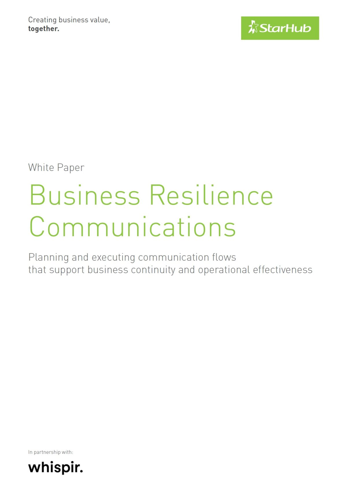 StarHub (SG) Whitepaper - Business Resilience Communications